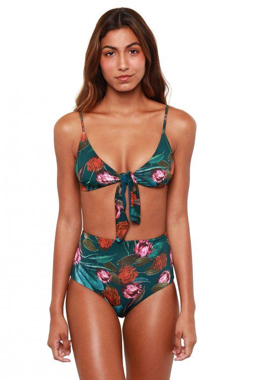 Vivianne Hi-Waisted Reversible Bikini Bottoms - Artichoke
