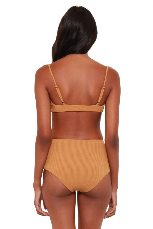 Vivianne Hi-Waisted Bikini Bottoms - Carmel Ribbed